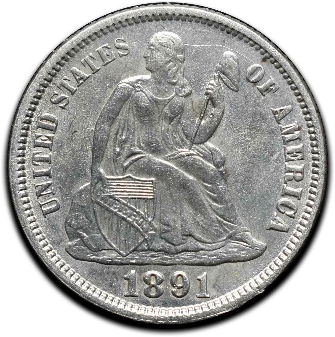 1891 Silver Seated Dime 10¢ Coin Lot# A 442