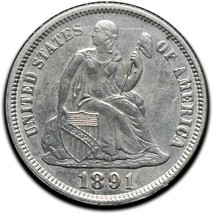 1891 Silver Seated Dime 10¢ Coin Lot# A 442 image 1