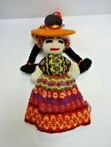 "Vintage Mexican Yarn Doll Wall Hanging Folk Art Hand-made. - 15"" Tall #1 - $21.11"