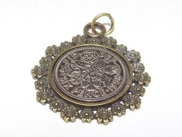 Sterling Silver 24in chain Fancy Pendant 1957 Lucky sixpence 62nd Birthday
