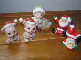 Gently Used Lot of Cute Teddy Bears with Santa Hats Acrobatic Claus & Bo... - $7.69