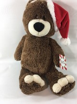 """Santa Bear With White Toes Animal Adventure Sweet Sprouts 13"""" Brown Santa Hat E2 - $7.91"""