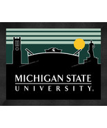 Michigan State Spartans 13 x 16 Uscape with Retro Skyline Framed Print  - $39.95