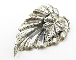 DANECRAFT 925 Silver - Vintage Lightly Etched Double Leaf Brooch Pin - BP2046 - $64.80