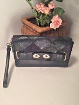 Coach Swagger Patchwork Large Wristlet Leather Suede Navy Blue Metallic B22 - £69.17 GBP