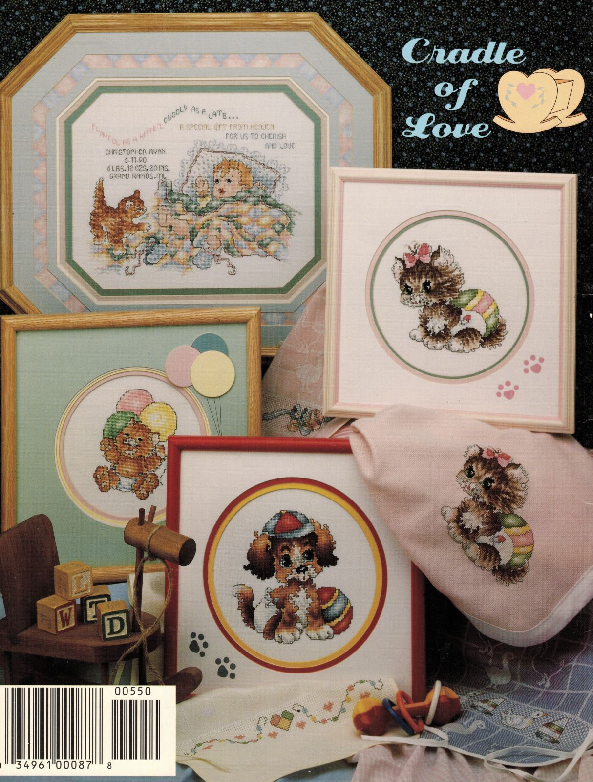 Primary image for 1991 Cross Stitch Cradle of Love Puppy Kitten Bunny Birth Record Patterns