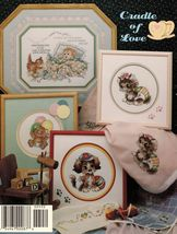 1991 Cross Stitch Cradle of Love Puppy Kitten Bunny Birth Record Patterns - $12.99