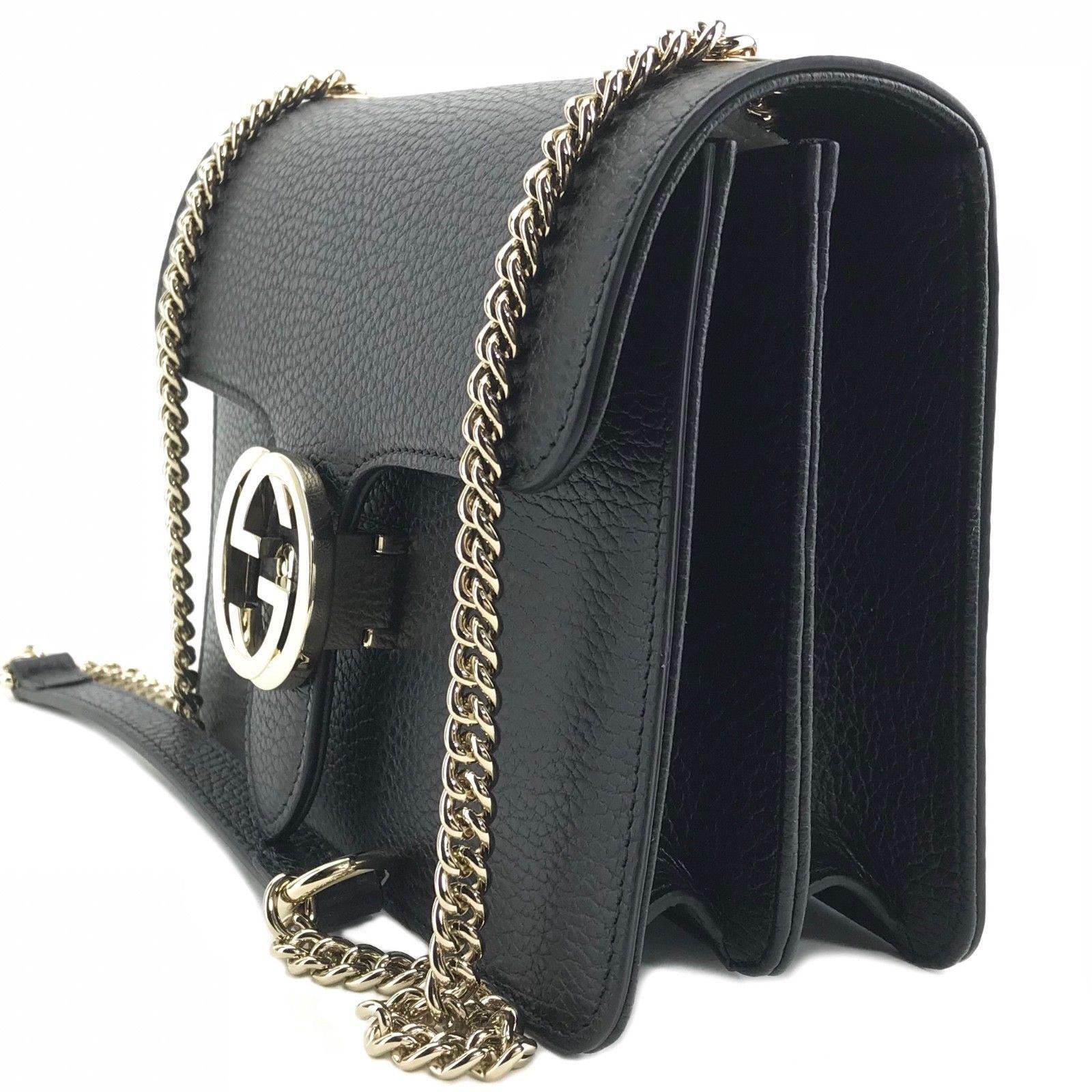ef253c0b82b64c NWT GUCCI 510304 Interlocking Leather Chain Crossbody Bag, Black