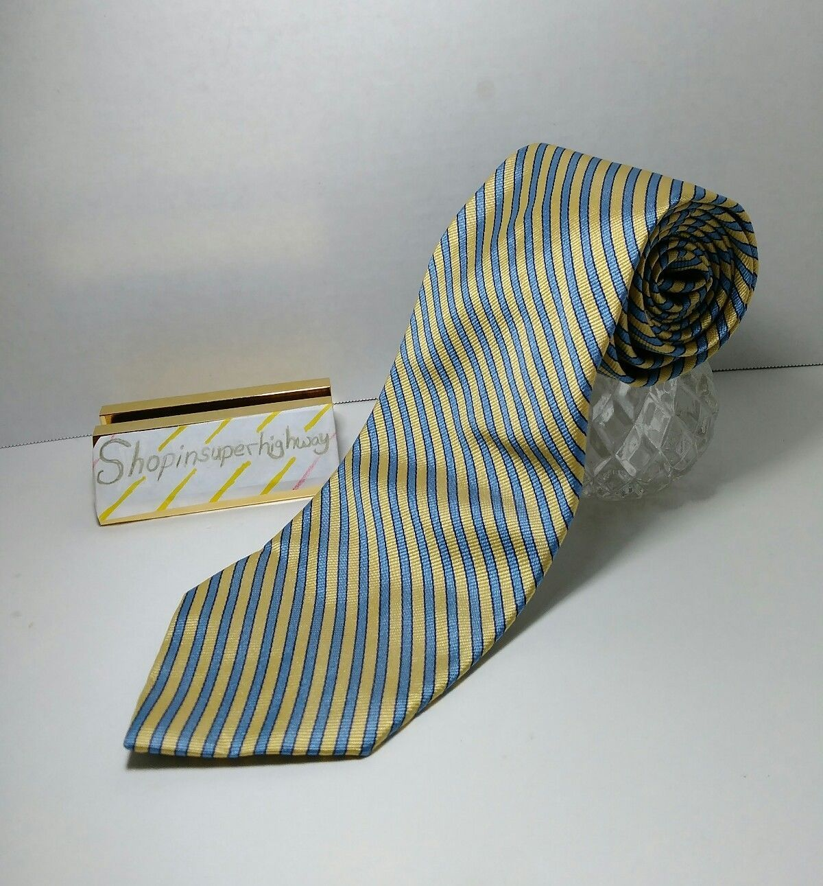 Brooks Brothers 346 Mens Tie Made in USA Pure Silk Woven in Italy Yellow Blue