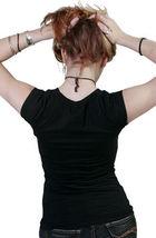 Cardboard Robot Women's Black Teal Solid Logo Cap Sleeve T-Shirt NWT image 4