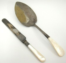 Antique Sheffield Server and J Russell Knife with Mother of Pearl Handle... - $16.92