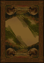 """8x11 (7'10""""x10'6"""") Lodge Cabin Grizzly Bear Pine Area Rug - $359.00"""
