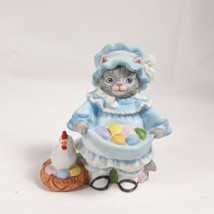Kitty Cucumber Schmid With Chicken Gathering Eggs Blue Dress Figurine Ea... - $18.00