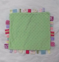 Minky Dot Baby Lovey & Security Blanket Green w Textured Ribbons Girl 14... - $14.99