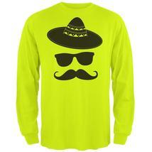Cinco De Mayo - Mustache Sombrero Mens Long Sleeve T Shirt - $20.95+
