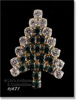 Eisenberg Ice Signed Christmas Tree Pin Green and Clear Rhinestones (#J671) - $105.05 CAD