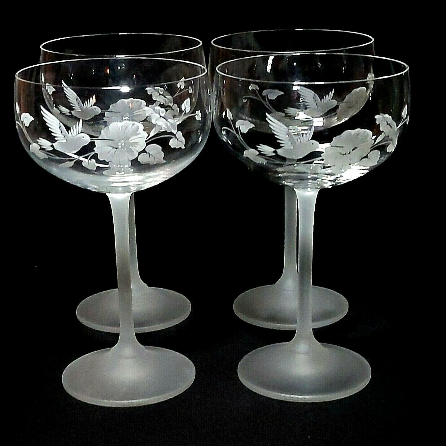 4 (Four) AVON HUMMINGBIRD Etched Crystal Champagne/ Tall Sherbet Glasses France