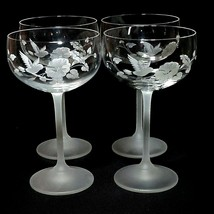 4 (Four) AVON HUMMINGBIRD Etched Crystal Champagne/ Tall Sherbet Glasses... - $42.74