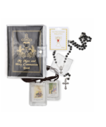 BOY'S COMMUNION SET WITH BLACK MASS BOOK CLOTH SCAPULAR ROSARY AND PIN - $47.49