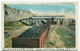 Railroad Coal Cars Mining Scene Rock Springs Wyoming 1941 postcard - $6.44