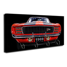 1969 Red Chevrolet Camaro Z28 Front End Design Wood Key Hanger Dog Leash Holder - $27.67