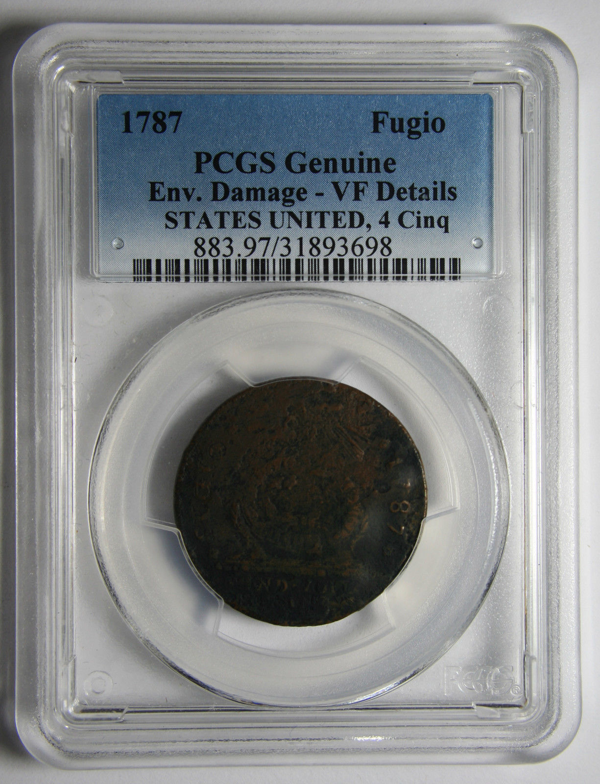 1787 States United 4 Cinq Fugio Colonial Copper Coin Lot # MZ 3927