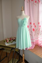 Cute Mint Green Chiffon Short Bridesmaid Dresses Sweet 16 Prom Party Dre... - $66.33