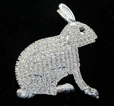LARGE CRYSTAL RHINESTONE EASTER BUNNY RABBIT PIN BROOCH  ALL STONES PRON... - $33.95