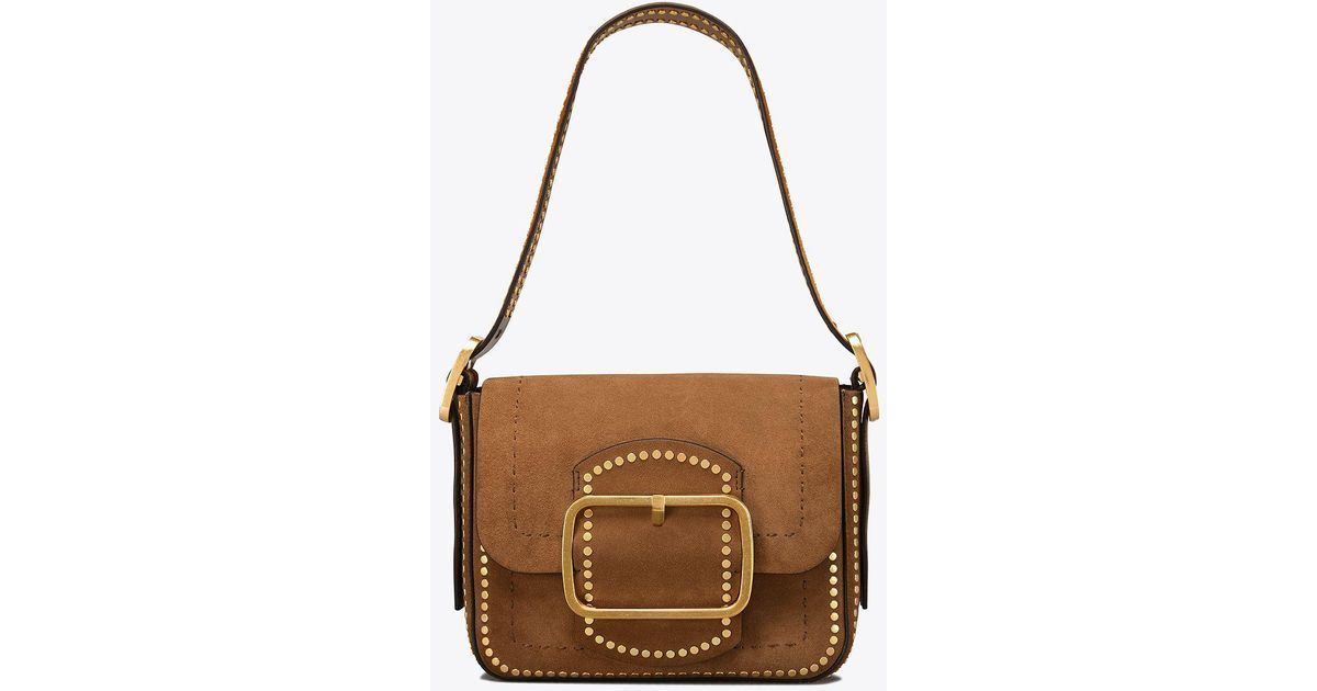 Primary image for NWT! Tory Burch Sawyer Stud Suede Small Shoulder Bag Festival Brown