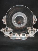 Duncan Miller TearDrop 4Pc Ind Creamer Sugar Tray Platter Tiny Raised Do... - $33.00