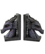 Gothic Purple Dragon Bookends Mystic Book Ends Set Evil - $40.74