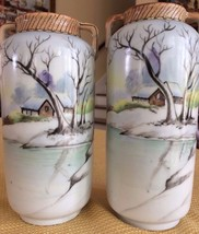HAND PAINTED NIPPON FABULOUS VINTAGE PAIR OF MARKED WINTER LANDSCAPE SCE... - $46.36