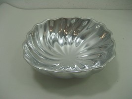 Vintage Wilton Armetale Glossy Pewter Dish Made in USA Eddy Swirl Style - $13.98