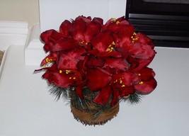 Bethlehem Lights Christmas Basket of Lighted Red Amaryllis Timer Pot Filler - $16.99