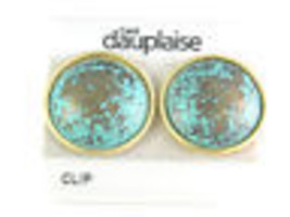 Carol Dauplaise Turquoise Colored Clip On Earrings Vintage Jewelry Lovely - $13.49