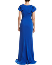 Badgley Mischka Women's Bright Blue Pleated Cap Sleeve Gown image 2
