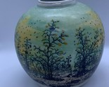 "IVAN LACKOVIC Croatia Round Tauzer 5"" Vase Green Winter Scene Trees Hand Painted"