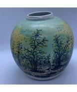"IVAN LACKOVIC Croatia Round Tauzer 5"" Vase Green Winter Scene Trees Hand Painted - €30,45 EUR"