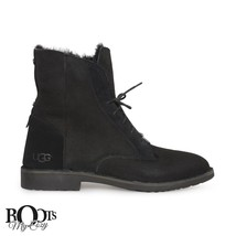 UGG QUINCY BLACK SUEDE/SHEEPSKIN LACE UP ANKLE BOOTS SIZE US 6/UK 4.5/EU 37 - $117.80