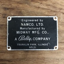 Vintage Bally Company Midway MFG CO. NAMCO, LTD Arcade Game Badge Plate ... - $49.49