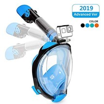 Full Face Snorkeling Mask Easy Breathing Foldable 180° Seaview Snorkel Masks for