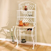 Bakers Rack with Wine Storage Wrought Iron Free Standing Floor White Tre... - $129.15