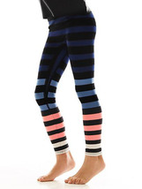 K-Deer Kids Blue/Coral/White Molly Stripe Athletic Leggings image 4