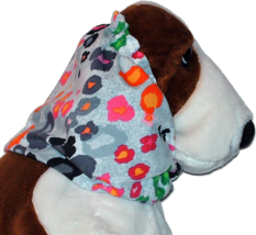 Brightly Colored Leopard Cotton Dog Snood by Howlin Hounds Size Puppy Short - $9.50