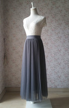 Gray Pleated Long Tulle Skirt Plus Size Pleated Tulle Tutu Skirt High Waisted image 5