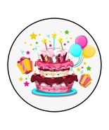"""30 Birthday cake and Balloons Envelope Seals Labels Stickers 1.5"""" Round - $4.99"""