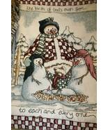 Heidi Satlerberg Woven Snowman Nativity Family THROW BLANKET Tapestry Ha... - $49.95