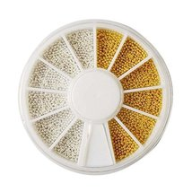 Set of 5 Nail Art White & Gold Beads Beads Decoration Nail Stickers Nail... - $10.75