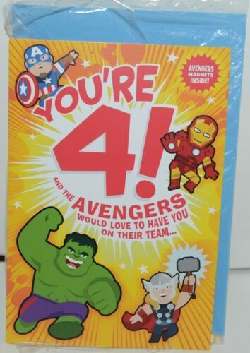 Hallmark HKB 526 3 MARVEL Avengers Youre 4 Birthday Card with Magnets Pkg 4