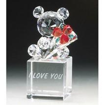 Crystal World  I Love You Teddy Bouquet Figurine New In Box - $56.42